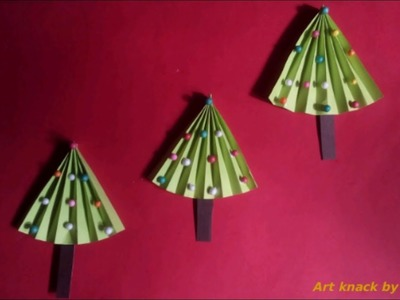 How to make origami paper Christmas tree, Christmas crafts for kids by Aditi