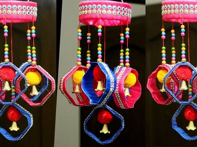 How to Make Plastic Bottle Wind Chime.Wall Hanging at Home - Jhumar Craft from Wool & Plastic Bottle