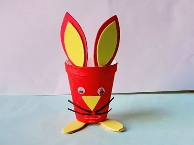 How to Reuse Waste Disposal tea glass | Best out of waste | how to Make bunny cat from faom Glass