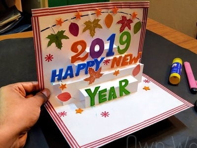 New year greeting card|| How to make 3d greeting card for New year||Paper greeting card