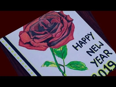 New year greeting card    How to make greeting card for New Year 2019