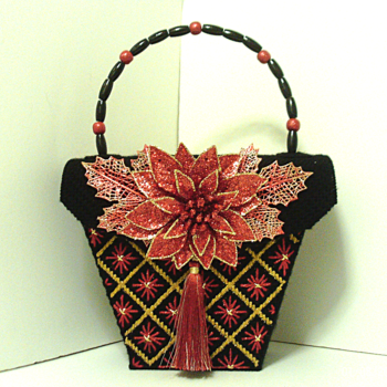 Red and Gold Poinsettia Bargello Purse