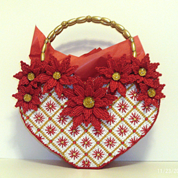 Red and White Poinsettia Christmas Tote bag