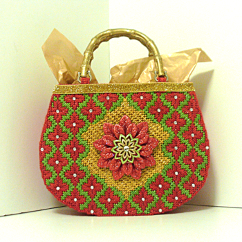 Red,Green and Gold Poinsettia Tote bag