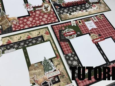 Scrapbook Tutorial | Carta Bella | Christmas *4 layouts* Cutting Guide