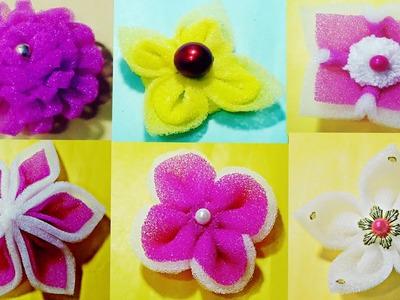 फोम से बनायें 6 आसान तरह के फूल.How to make very easy six type Foam flower.