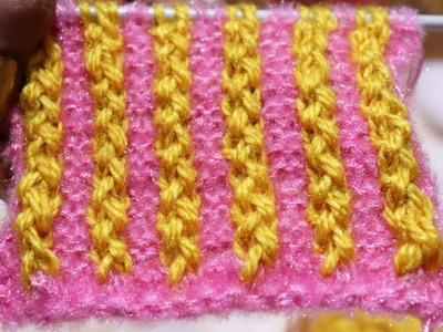 Two Colour Knitting Pattern | Hindi |