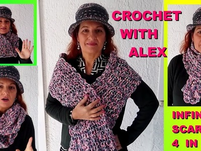 CROCHET INFINITY 4 IN 1 EASY TUTORIAL FOR BEGINNERS ALEX CROCHET
