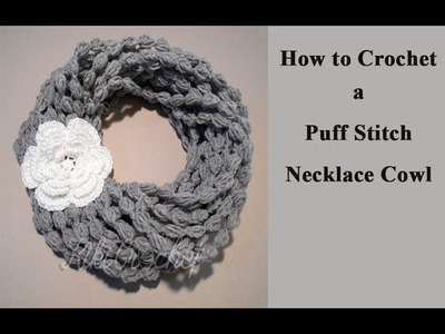 Crochet Puff Stitch Necklace Scarf