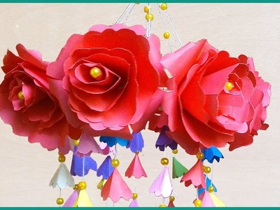 DIY Wind Chime with Beautiful Paper Roses | Wall Hanging | How to make wind chimes out of paper