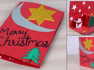 Easy ! DIY 3D Christmas Pop Up Card - How to make Christmas tree Card at Home | Craft