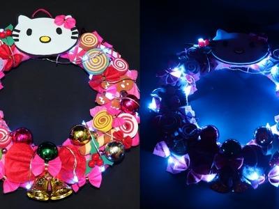 Hello Kitty Wreath. DIY Hello kitty Christmas Wreaths. Diy pink Wreaths. How to make Wreaths