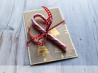 How to make : Christmas Card with Candy Cane | Kartka Świąteczna - Advent Calendar 2018 #1