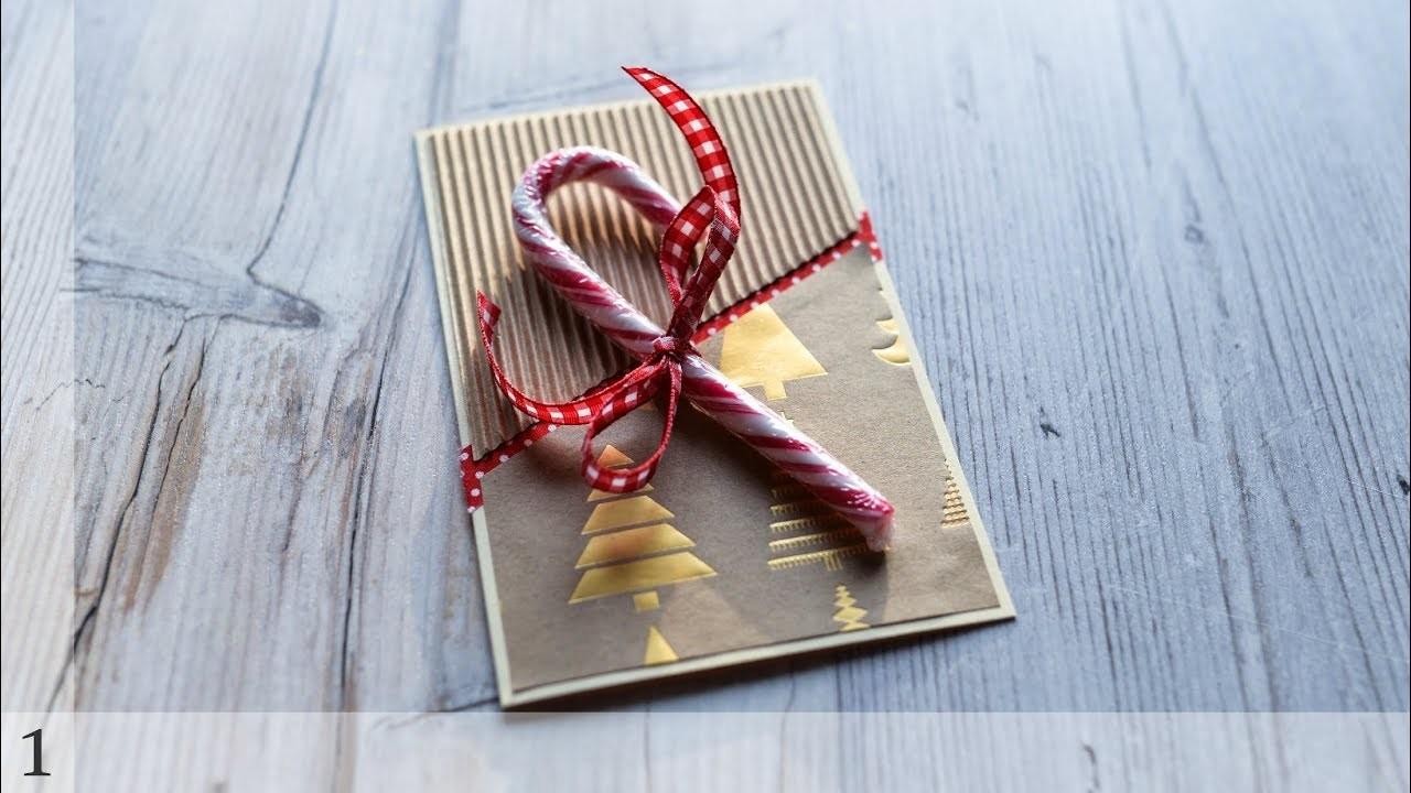 How to make : Christmas Card with Candy Cane   Kartka Świąteczna - Advent Calendar 2018 #1