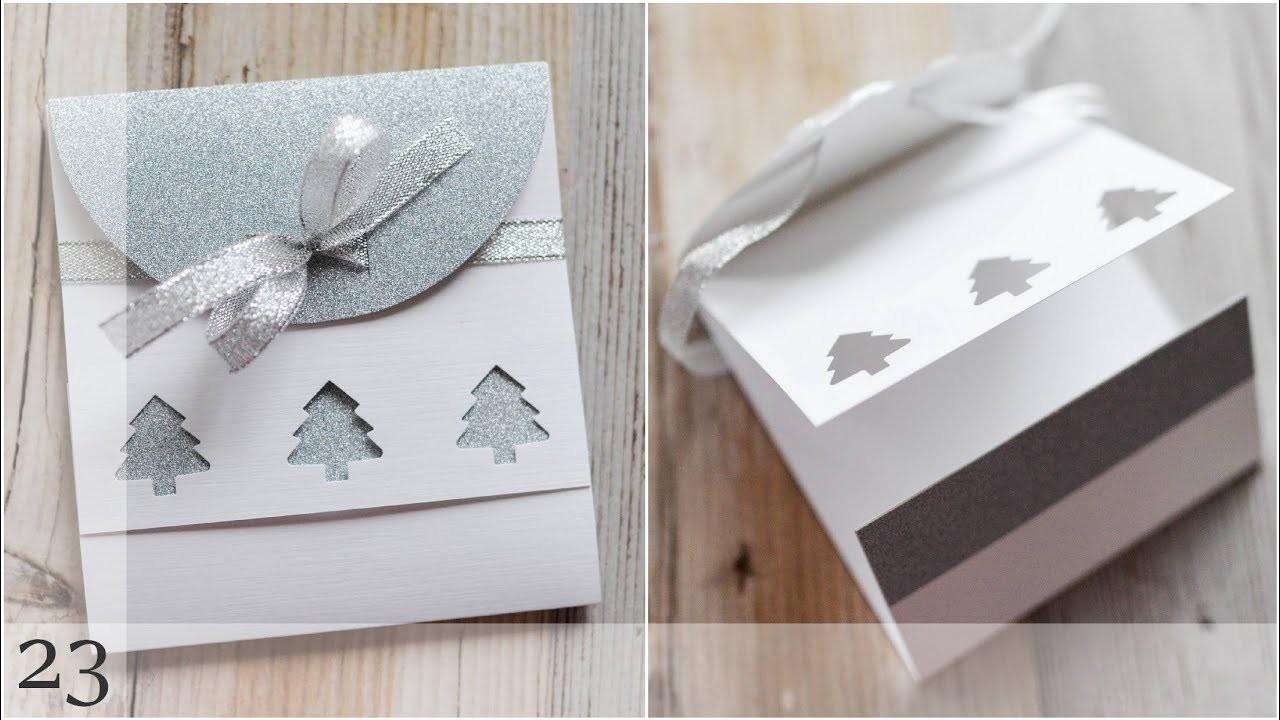 How to make : Christmas Card with Glitter Paper   Kartka Świąteczna - Advent Calendar 2018 #23