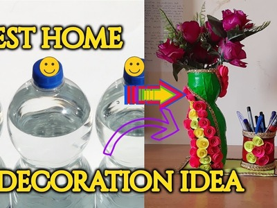How to make flower pot and pen holder from old bottle  [recycle]-|Hindi|