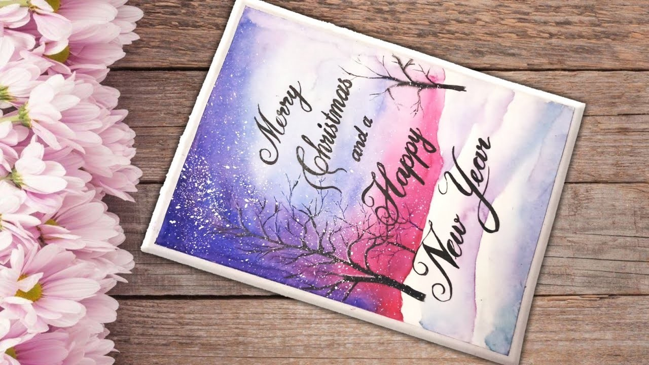 How to make Merry Christmas and new year 2019 greetings  card   watercolour