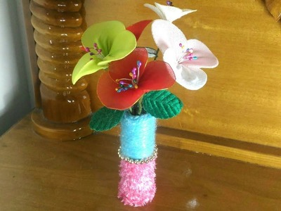 How to make stocking flower.flower vase making