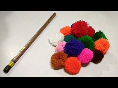 How to make woolen flower by using Pencil easy trick | The Latest Design