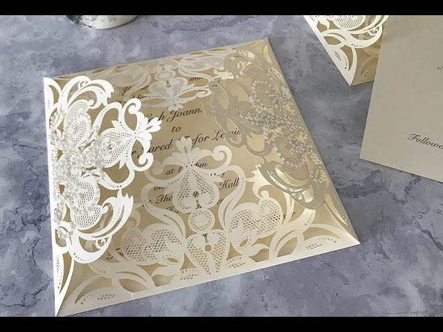 How to make your own laser cut wedding invitations with Pearl Stickers - Easy DIY Invitations