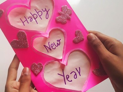 New year greeting card   How to make greeting card for New year  Paper greeting card   craft's king