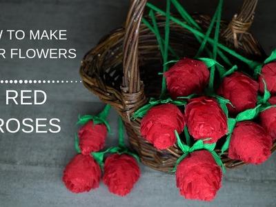 302 Crepe Paper Flowers Red Roses Tutorial. DIY Paper Flower