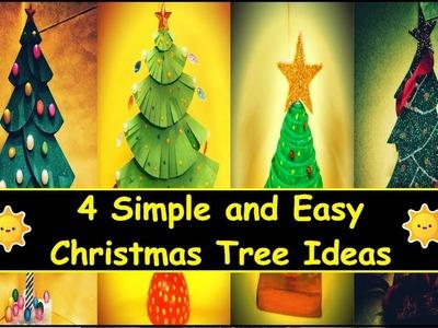 4 Simple and Easy DIY Christmas tree ideas   3D Paper Christmas Tree   last minute christmas gifts