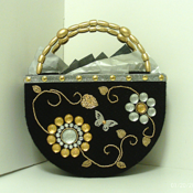 Black ,Sliver and Gold Jeweled Handbag