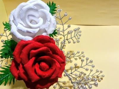 Crepe paper rose tutorial.how to make crepe paper rose.crepe paper rose step by step