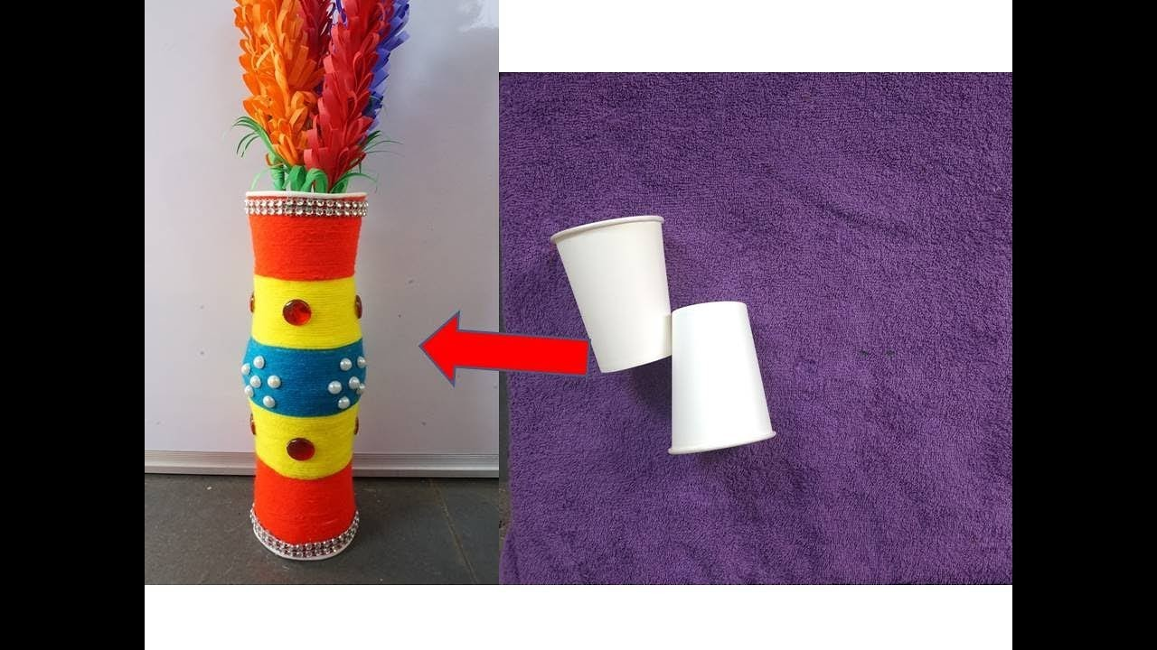 Disposable Glass and Wool Room Decor Idea | DIY Flower pot from disposal Glass | Best out of waste