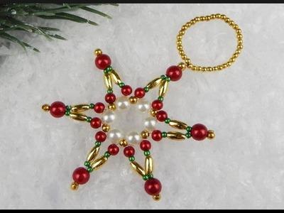 DIY | Beaded Pearl Star | Christmas Tree Ornament | Perlen Stern Christbaumschmuck