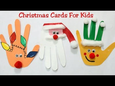 Diy Christmas Cards For Kids.Making Easy Hand print Card.Kids Christmas Craft Ideas