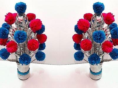 DIY: Flower vase.Guldasta from plastic bottle & Pom Pom at home | Flower pot with Plastic bottle