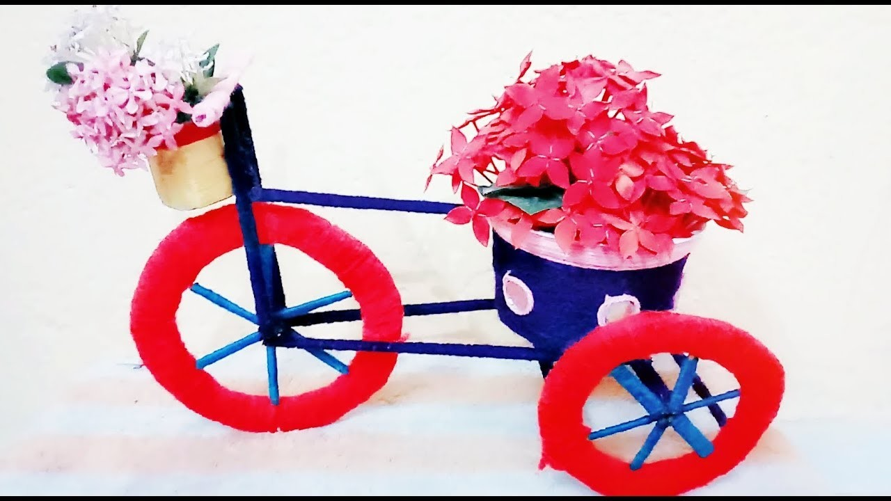 DIY | how to make bicycle using Paper and wool at home| Home decoration