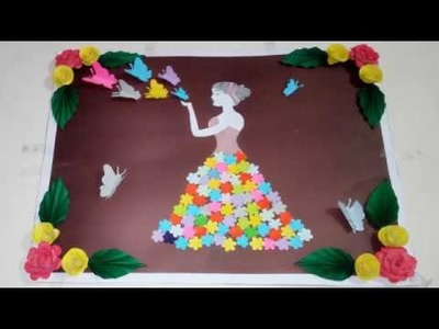 Diy paper flower wall hanging.wall decoration ideas.easy paper flower wall hanging.By Saba Iqbal