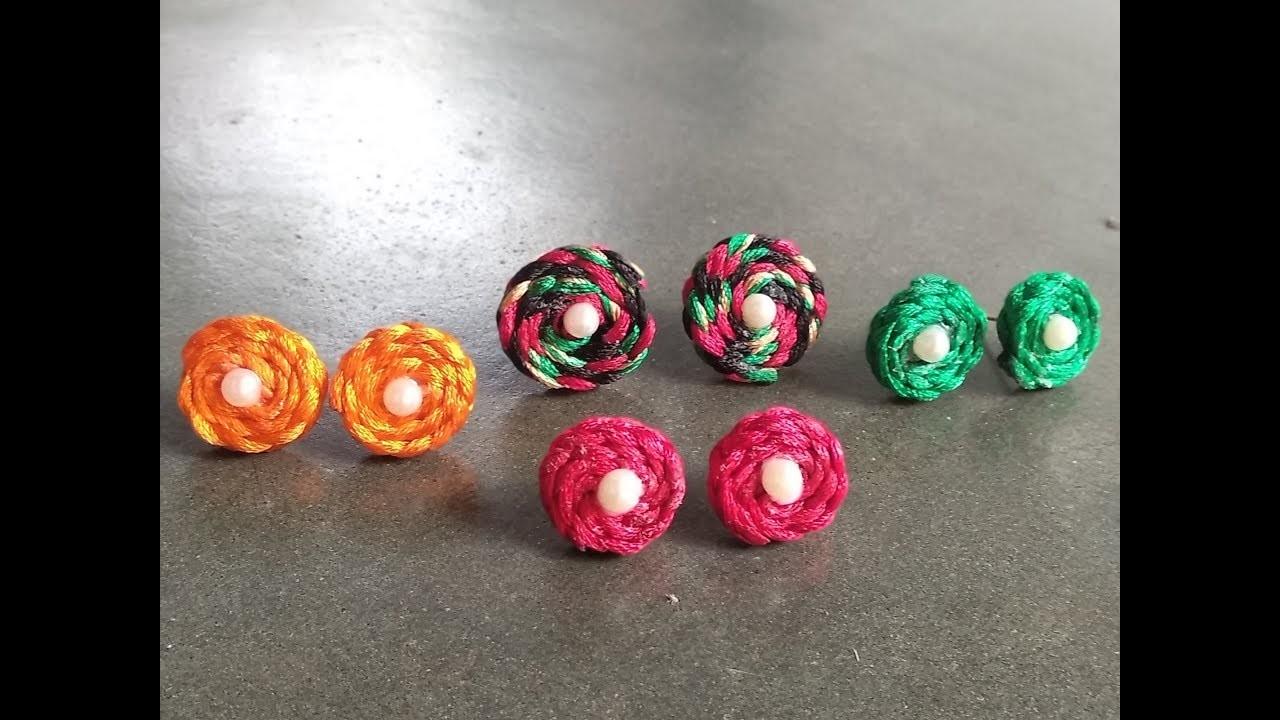 Diy Silk Thread Tops Earrings Making Handmade Jewellery Handcraft