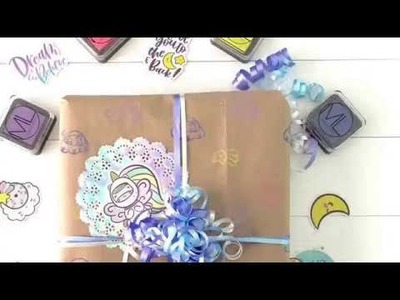 DIY Wrapping Paper using Mommy Lhey Stamps by MLGirl Amanda
