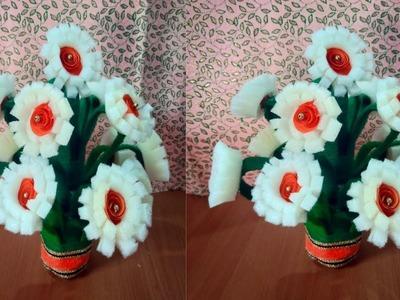 Guldasta making 2018.DIY.New design foam guldasta.woolen.waste plastic bottle flower pot.vase
