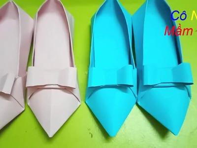 How to make a paper shoe - DIY - Hướng dẫn gấp giấy đôi giầy sành điệu