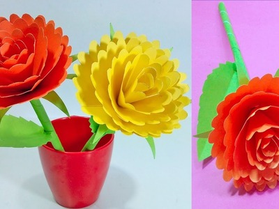 How to Make Beautiful Flower with Paper Colour Paper - Making Paper Flowers Step by Step