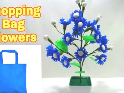 How to Make Blue Shopping Bag Flowers.DIY Shopping bag flower.Making flower bunches.DIY Flowers