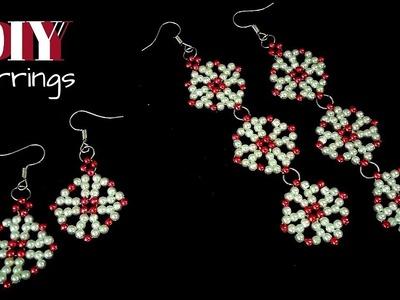 How to make earrings. Simple beading pattern for DIY earrings. Beaded earrings