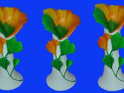 How to make flower vase   flower vase with paper  new style vase  dustu pakhe