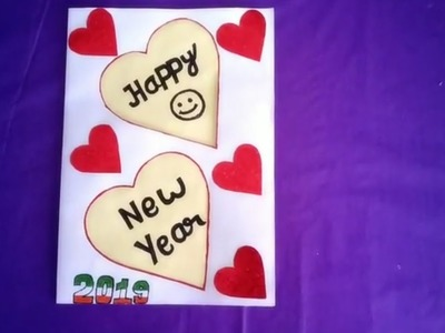 How to Make Happy New Year Greeting Card 2019 Easily | Happy New Year card | Greeting Card 2019