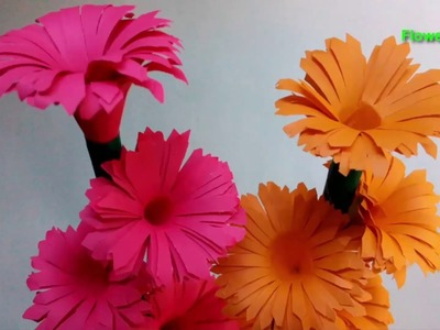 How to make stick paper flowers | DIY Paper Flowers | Paper Flowers making Step by Step