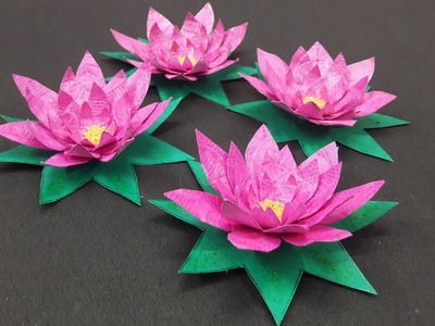 Lotus made of hand-made paper for school competition and festival and decoratation
