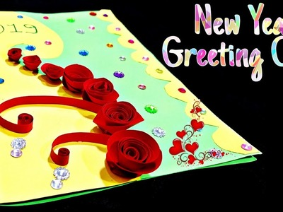 New year greeting card | How to make greeting card for New year | New year card making handmade