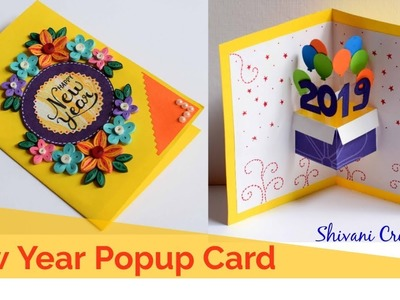 Quilled New Year Popup Card. DIY New Year Greeting Card. How to make New Card for 2019