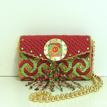 Red,Green and Gold Jeweled Clutch