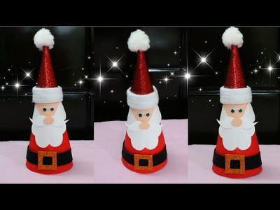 Santa Claus.Making Santa Claus from Paper Cone.Christmas Home Decor Ideas.Christmas Craft for Kids